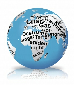 globe with crisis text